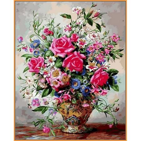 Букет роз и полевых цветов, цветной холст