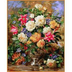 Лилии и жёлтые розы - цветной холст