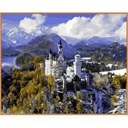 Замок Нойшванштайн зимой, цветной холст