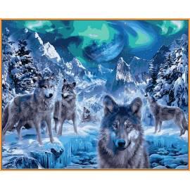 Волки и северное сияние, цветной холст