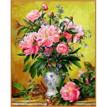 Пионы в изящной вазе, цветной холст