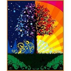 Дерево счастья, цветной холст