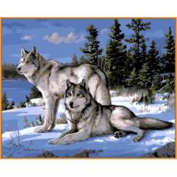 Волки на снегу, цветной холст