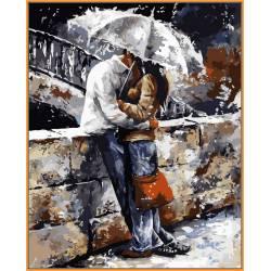 Любовь под дождём, цветной холст
