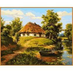 Домик возле пруда, цветной холст