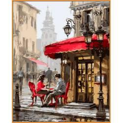 Лондонское кафе, цветной холст