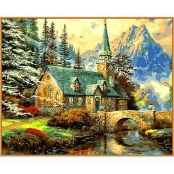 Альпийский пейзаж, цветной холст