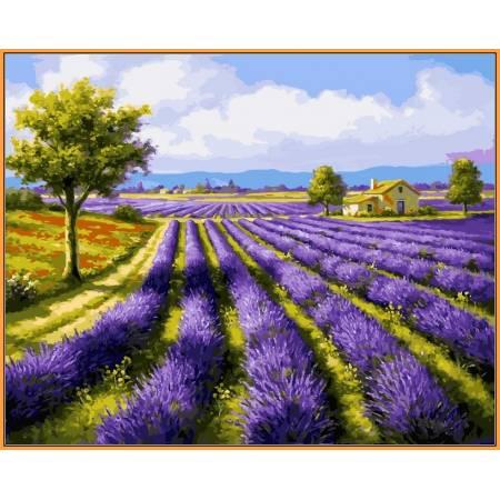 Картина по номерам Лавандовые поля,, цветной холст NB530R, Babylon Premium
