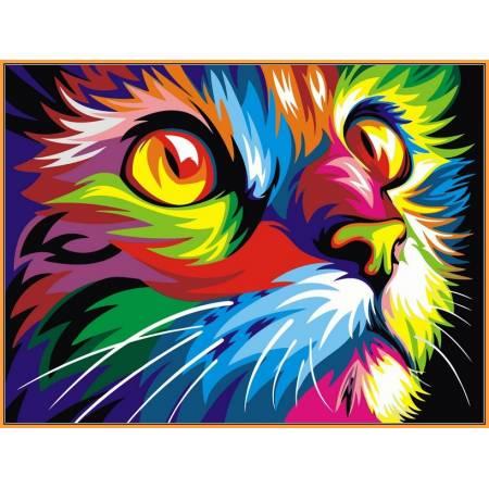 Картина по номерам Радужный кот,, цветной холст NB532R, Babylon Premium
