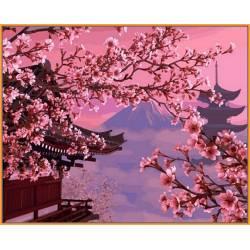 Японский пейзаж, цветной холст