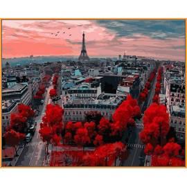 Алые краски Парижа, цветной холст