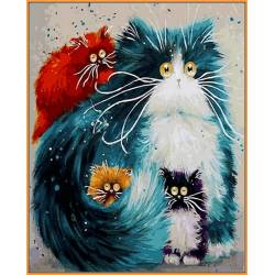 Мама кошка, цветной холст