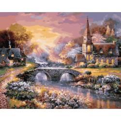 Закат над горной деревней, цветной холст