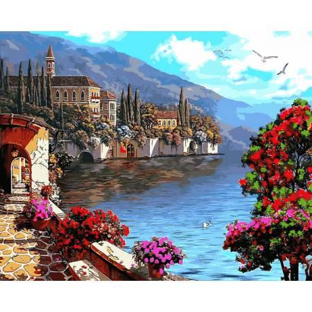 Картина по номерам Летний уголок,, цветной холст NB923R, Babylon Premium
