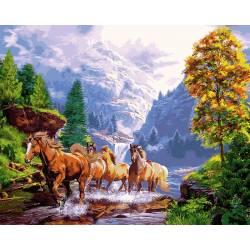 Лошади на берегу озера, цветной холст
