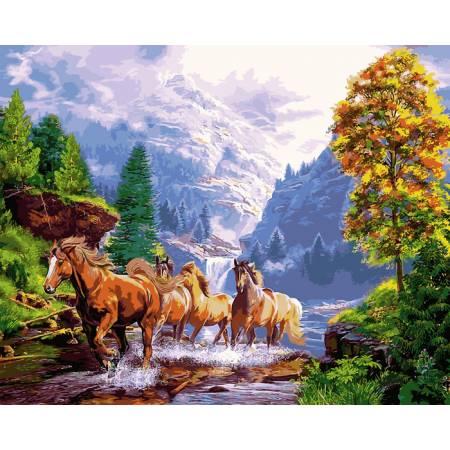 Картина по номерам Лошади на берегу озера,, цветной холст NB924, Babylon Premium