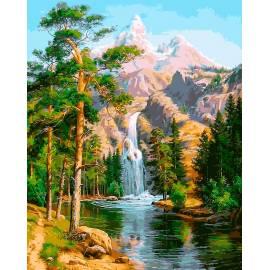 Водопад в лесу, цветной холст
