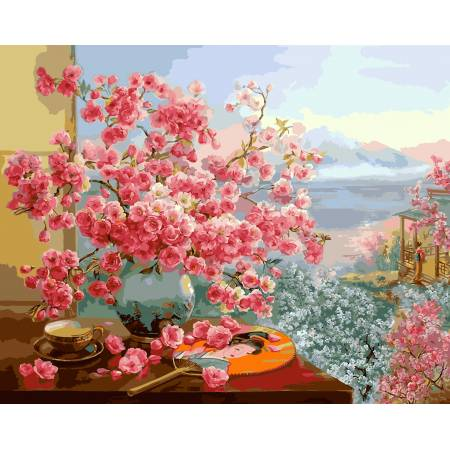 Картина по номерам «В объятьях цветущей сакуры - Babylon Premium (цветной холст) », модель NB964