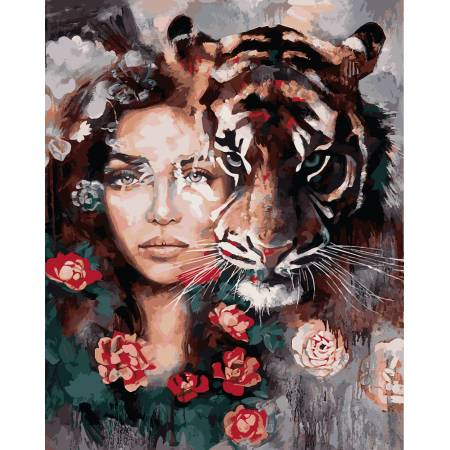 Картина по номерам «Глаза тигра - Babylon Premium (цветной холст)», модель NB966