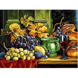 Натюрморт с хлебом и виноградом