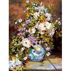 Цветы в расписной вазе