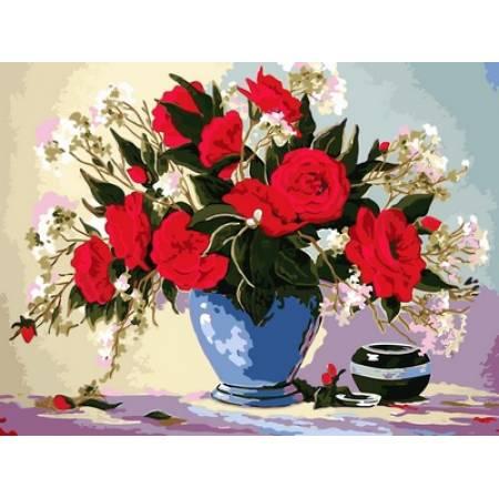 Картина по номерам Букет роз в голубой вазе VK091, Babylon