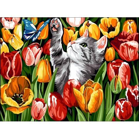 Картина по номерам «котенок в тюльпанах », модель vk178
