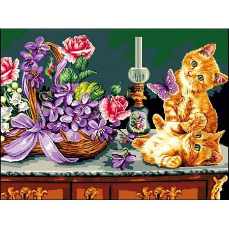 Картина по номерам «Милые рыжие котята», модель vk179