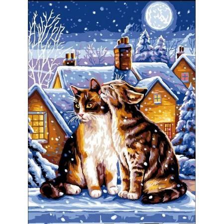Картина по номерам Зимние котики vk182, Babylon