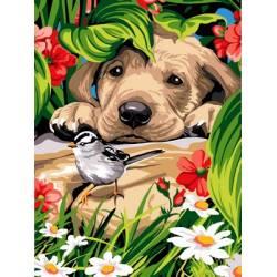 Любопытный щенок и птичка
