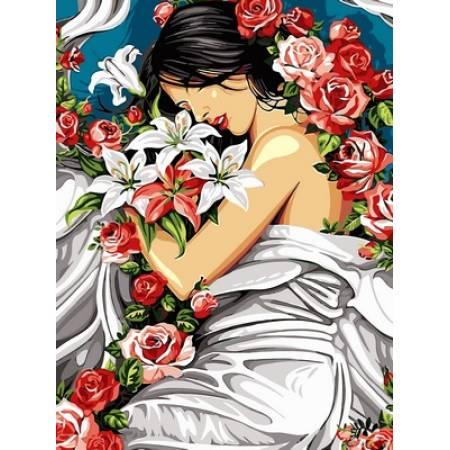 Картина по номерам Девушка в цветах VK217, Babylon