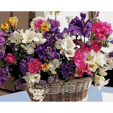 Картина по номерам «Корзинка цветочного счастья», модель VP1038