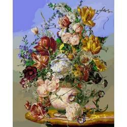 Жёлтые тюльпаны и пионы
