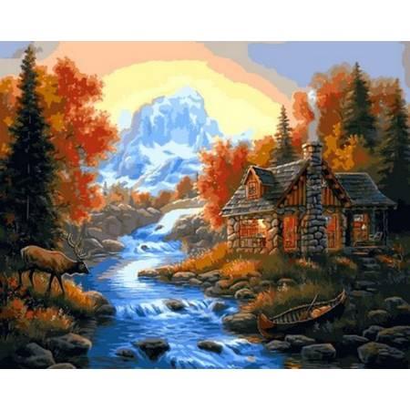 Картина по номерам Домик у горной реки VP1066, Babylon