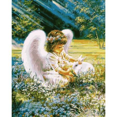 Картина по номерам «Ангелочек с кроликом», модель VP900