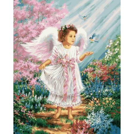 Картина по номерам Ангелочек в цветущем саду VP901, Babylon