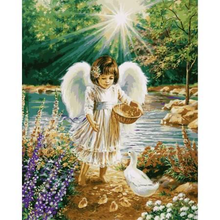 Картина по номерам «Ангелочек и утята», модель VP902