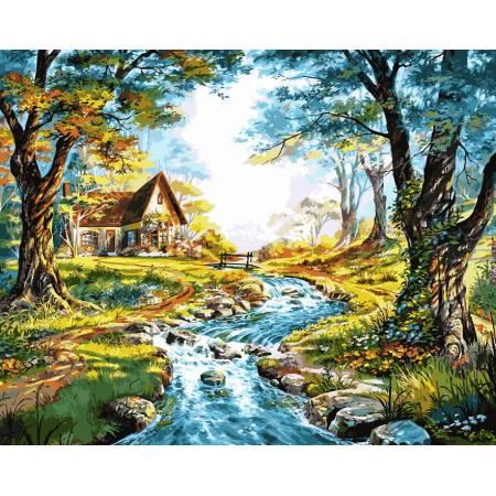 Картина по номерам Домик на берегу горной речки VP917, Babylon