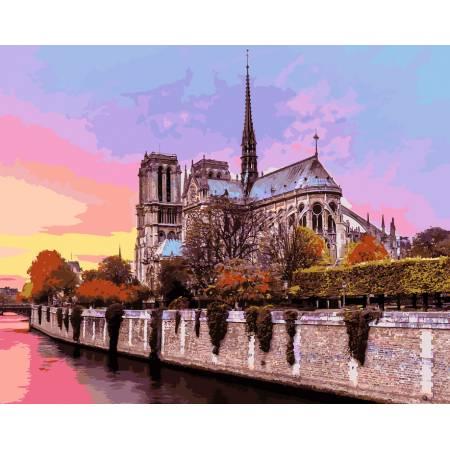 Картина по номерам «Рассвет над собором Парижской Богоматери», модель VP939
