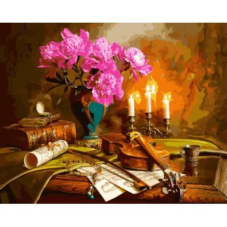 Натюрморт со скрипкой и пионами