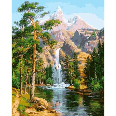 Картина по номерам Водопад в сосновом лесу VP957, Babylon