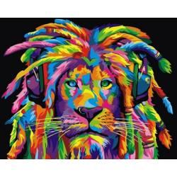 Радужный лев с дредами горизонтальная