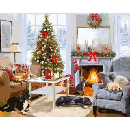 Картина по номерам Рождественское утро у камина VP998, Babylon