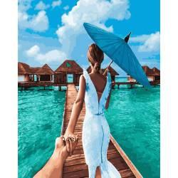 Следуй за мной Мальдивы, цветной холст