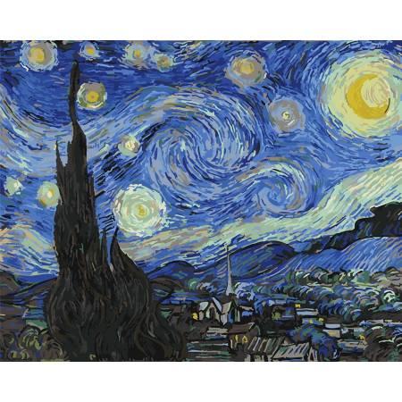 Картина по номерам Звездная ночь. Ван Гог, цветной холст ...
