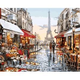 Париж после дождя, цветной холст