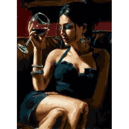 Картина по номерам Дама с бокалом (TN709), DIY