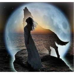 Девушка и волк при луне