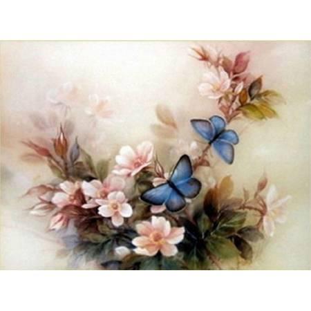 Картина по номерам нежные цветы и бабочки (FS041), DIY