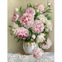 Бело-розовые пионы на подрамнике